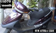 SYM Attila - 125cc scooter -  VND1,200,000/month - Better rate for monthly rental